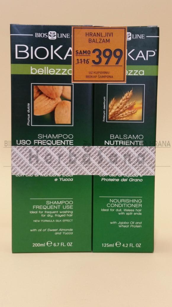 PROMO BIOKAP Šampon za suvu kosu 200ml + Hranljivi balzam 125ml