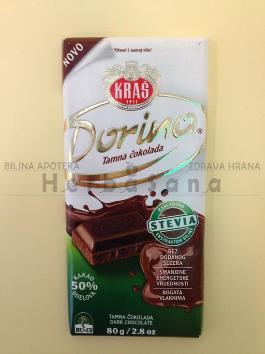 dorina tamna cokolada sa steviom 80g