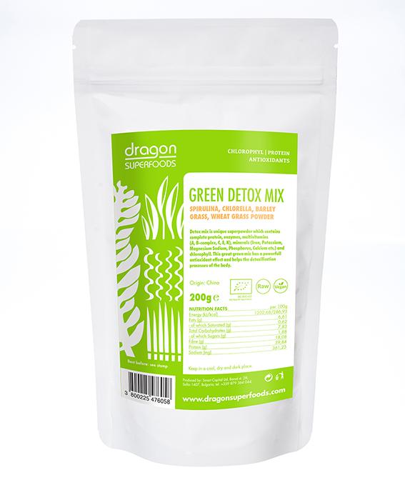 green detox mix spirulina hlorela jecmena i psenicna trava 200g