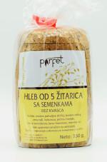 Beskvasni hleb od 5 žitarica 350g