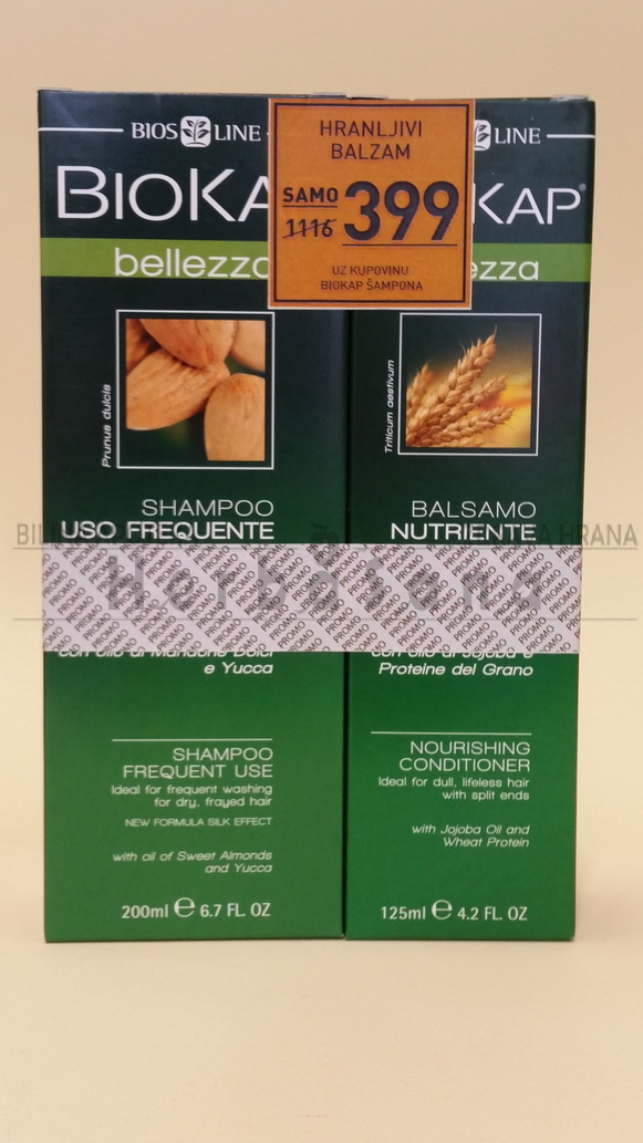 BIOKAP Šampon za suvu kosu 200ml + Hranljivi balzam 125ml GRATIS