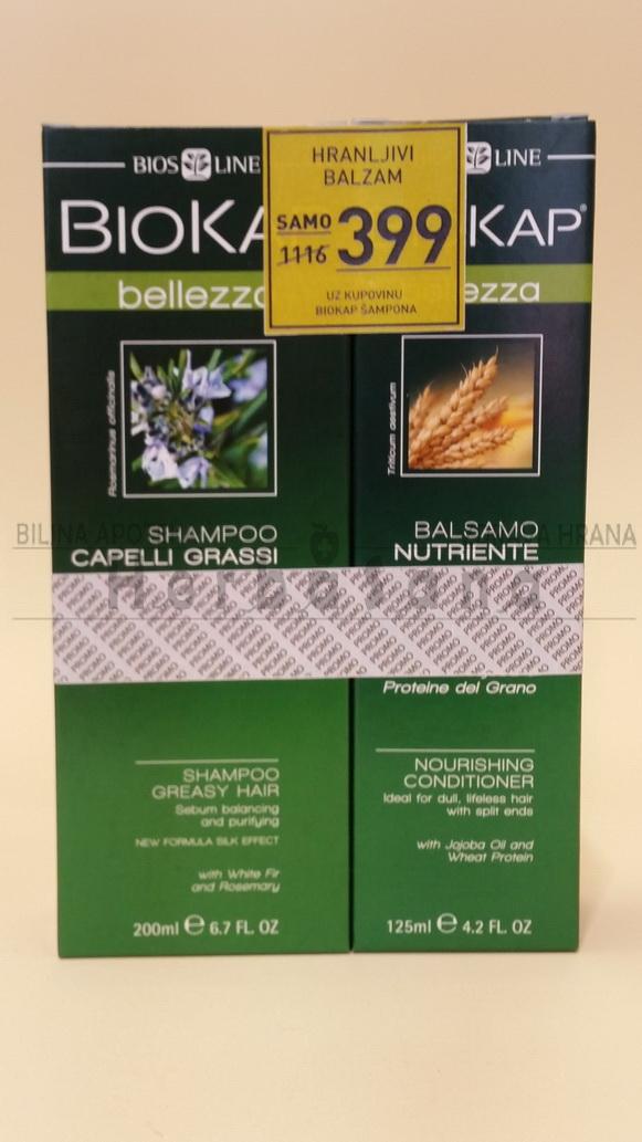 BIOKAP Šampon za masnu 200ml + Hranljivi balzam 125ml GRATIS